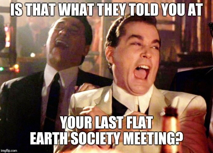 Good Fellas Hilarious | IS THAT WHAT THEY TOLD YOU AT YOUR LAST FLAT EARTH SOCIETY MEETING? | image tagged in memes,good fellas hilarious | made w/ Imgflip meme maker