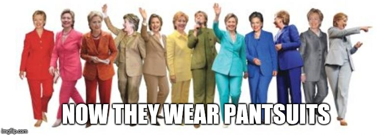Hillary Pantsuit | NOW THEY WEAR PANTSUITS | image tagged in hillary pantsuit | made w/ Imgflip meme maker