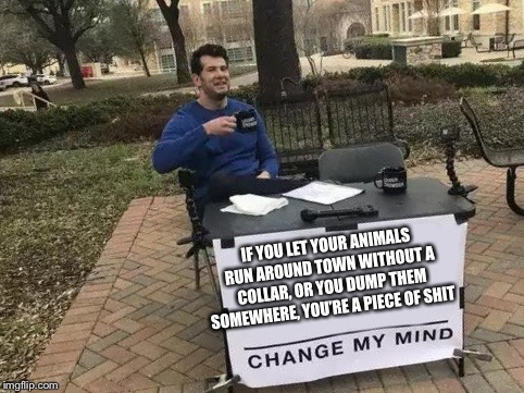 Change My Mind Meme | IF YOU LET YOUR ANIMALS RUN AROUND TOWN WITHOUT A COLLAR, OR YOU DUMP THEM SOMEWHERE, YOU'RE A PIECE OF SHIT | image tagged in change my mind | made w/ Imgflip meme maker