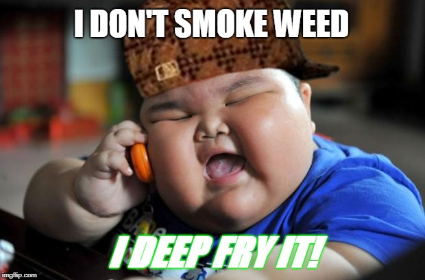 420 Kid | I DON'T SMOKE WEED I DEEP FRY IT! | image tagged in fat kid,420,scumbag,scumbag hat,420 blaze it,cell phone | made w/ Imgflip meme maker