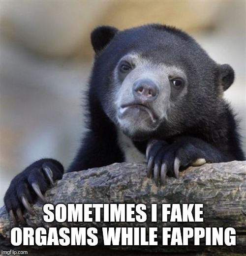sad bear | SOMETIMES I FAKE ORGASMS WHILE FAPPING | image tagged in sad bear | made w/ Imgflip meme maker