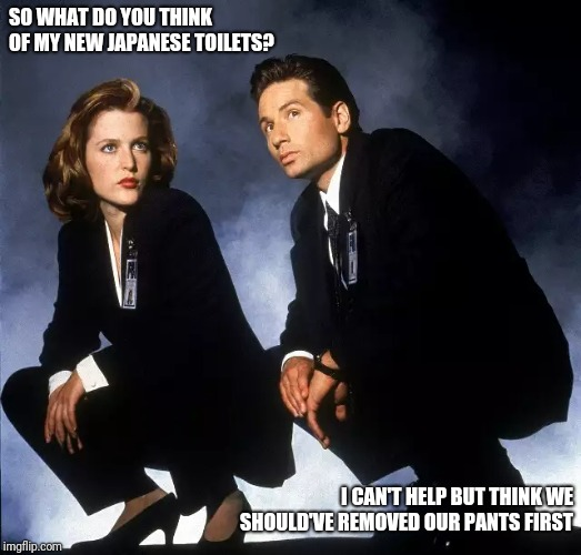 SO WHAT DO YOU THINK OF MY NEW JAPANESE TOILETS? I CAN'T HELP BUT THINK WE SHOULD'VE REMOVED OUR PANTS FIRST | image tagged in x-files | made w/ Imgflip meme maker