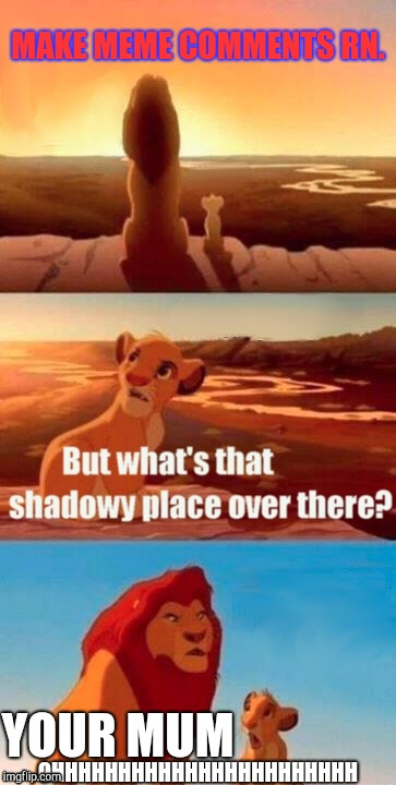 Simba Shadowy Place Meme | MAKE MEME COMMENTS RN. YOUR MUM OHHHHHHHHHHHHHHHHHHHHHHH | image tagged in memes,simba shadowy place | made w/ Imgflip meme maker