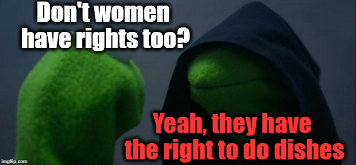 Uh Oh | Don't women have rights too? Yeah, they have the right to do dishes | image tagged in memes,evil kermit | made w/ Imgflip meme maker