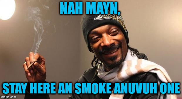 Snoop Dogg | NAH MAYN, STAY HERE AN SMOKE ANUVUH ONE | image tagged in snoop dogg | made w/ Imgflip meme maker