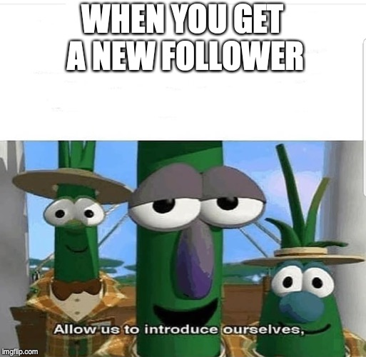 Allow us to introduce ourselves |  WHEN YOU GET A NEW FOLLOWER | image tagged in allow us to introduce ourselves | made w/ Imgflip meme maker