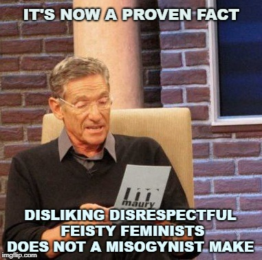 Maury Lie Detector Meme | IT'S NOW A PROVEN FACT DISLIKING DISRESPECTFUL FEISTY FEMINISTS DOES NOT A MISOGYNIST MAKE | image tagged in memes,maury lie detector | made w/ Imgflip meme maker