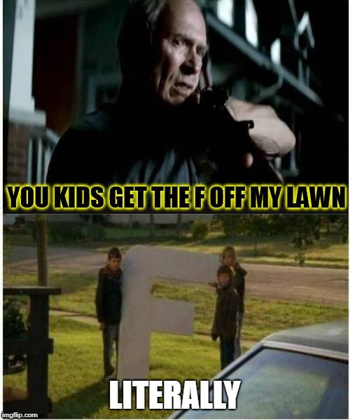 Get the F off my lawn.  Literally | LITERALLY | image tagged in literally | made w/ Imgflip meme maker