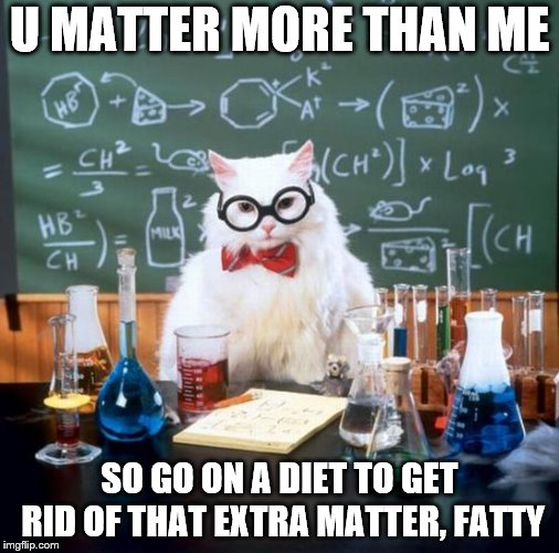 Chemistry Cat | U MATTER MORE THAN ME SO GO ON A DIET TO GET RID OF THAT EXTRA MATTER, FATTY | image tagged in memes,chemistry cat | made w/ Imgflip meme maker