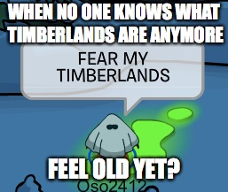 Timberlands | WHEN NO ONE KNOWS WHAT TIMBERLANDS ARE ANYMORE FEEL OLD YET? | image tagged in feel old yet,club penguin,timberlands | made w/ Imgflip meme maker