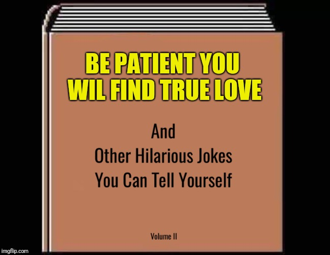 BE PATIENT YOU WIL FIND TRUE LOVE | image tagged in and other hilarious jokes you can tell yourself hd | made w/ Imgflip meme maker