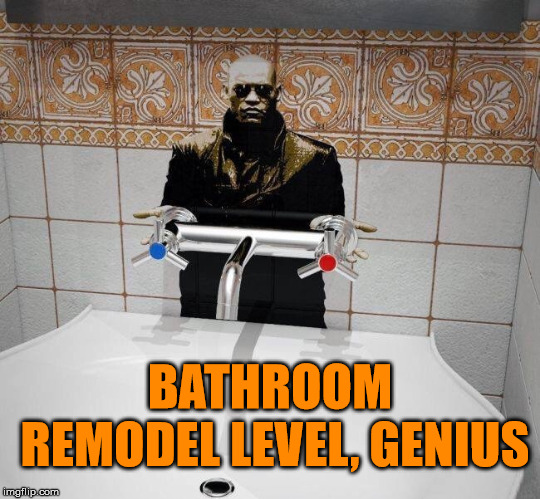You use the blue handle or the red handle? | BATHROOM REMODEL LEVEL, GENIUS | image tagged in memes,matrix morpheus,red pill blue pill,bathroom,funny meme,matrix pills | made w/ Imgflip meme maker