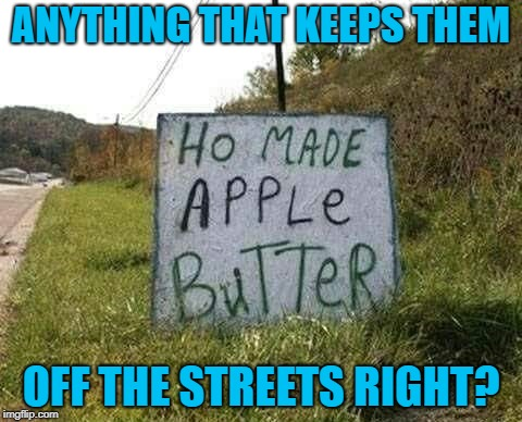 You gotta make that money!!! |  ANYTHING THAT KEEPS THEM; OFF THE STREETS RIGHT? | image tagged in apple butter,memes,funny signs,funny,homemade,signs | made w/ Imgflip meme maker