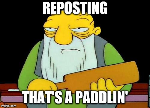 That's a paddlin' | REPOSTING THAT'S A PADDLIN' | image tagged in memes,that's a paddlin' | made w/ Imgflip meme maker