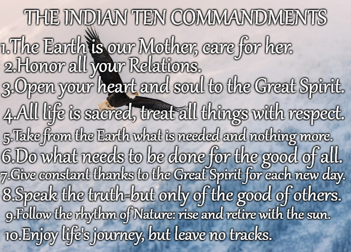 The Indian Ten Commandments |  THE INDIAN TEN COMMANDMENTS; 1.The Earth is our Mother, care for her. 2.Honor all your Relations. 3.Open your heart and soul to the Great Spirit. 4.All life is sacred, treat all things with respect. 5.Take from the Earth what is needed and nothing more. 6.Do what needs to be done for the good of all. 7.Give constant thanks to the Great Spirit for each new day. 8.Speak the truth-but only of the good of others. 9.Follow the rhythm of Nature: rise and retire with the sun. 10.Enjoy life's journey, but leave no tracks. | image tagged in native americans,indians,native american,indian chief,indian chiefs,tribe | made w/ Imgflip meme maker