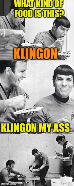 WHAT KIND OF FOOD IS THIS? KLINGON MY ASS KLINGON | image tagged in star trek | made w/ Imgflip meme maker
