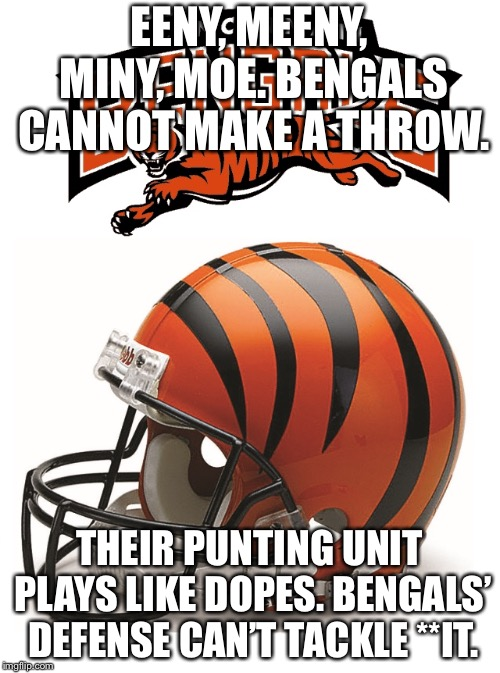 Bengal Nursery Rhyme | EENY, MEENY, MINY, MOE. BENGALS CANNOT MAKE A THROW. THEIR PUNTING UNIT PLAYS LIKE DOPES.BENGALS' DEFENSE CAN'T TACKLE **IT. | image tagged in bengals,memes,nfl football,nursery rhymes,dope,bad | made w/ Imgflip meme maker