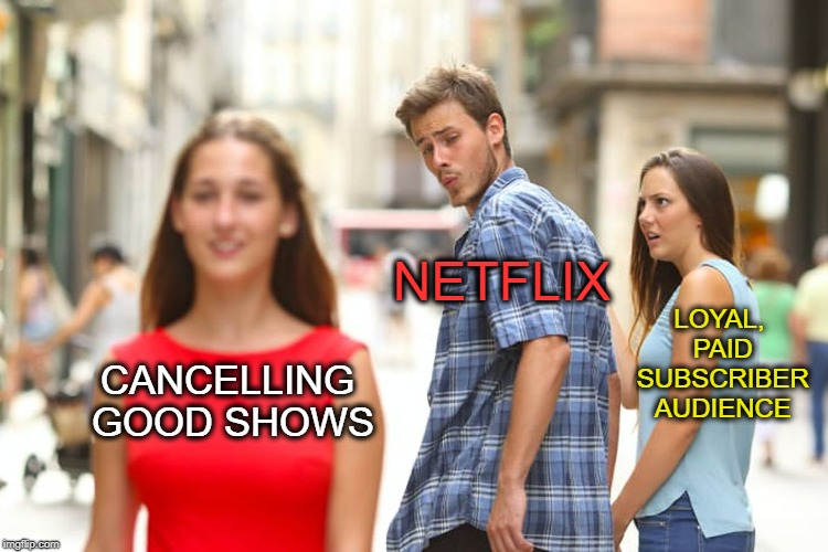 Netflix got NO chill |  NETFLIX; LOYAL, PAID SUBSCRIBER AUDIENCE; CANCELLING GOOD SHOWS | image tagged in distracted boyfriend,luke cage,iron fist,orange is the new black,scumbag netflix,netflix | made w/ Imgflip meme maker