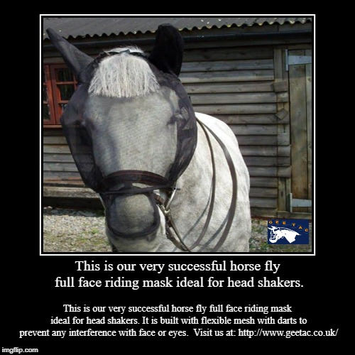 This is our very successful horse fly full face riding mask ideal for head shakers. | This is our very successful horse fly full face riding mask ideal for head shakers. | This is our very successful horse fly full face riding | image tagged in face,mask,horse,wear | made w/ Imgflip demotivational maker
