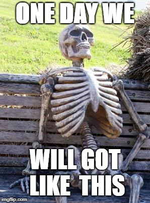 Waiting Skeleton | ONE DAY WE WILL GOT LIKE  THIS | image tagged in memes,waiting skeleton | made w/ Imgflip meme maker