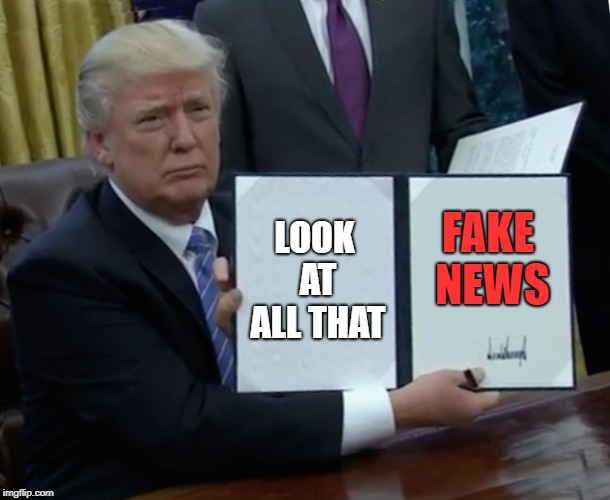 Trump Bill Signing Meme | LOOK AT ALL THAT FAKE NEWS | image tagged in memes,trump bill signing | made w/ Imgflip meme maker