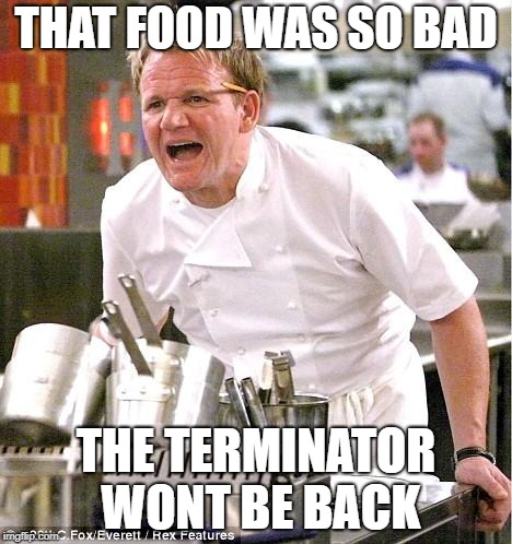 Chef Gordon Ramsay Meme | THAT FOOD WAS SO BAD THE TERMINATOR WONT BE BACK | image tagged in memes,chef gordon ramsay | made w/ Imgflip meme maker
