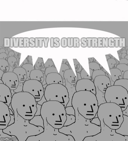 Run Program Agree ) : If Program Agree Negative, Run Program AccuseofRacism ) . | DIVERSITY IS OUR STRENGTH | image tagged in npcprogramscreed | made w/ Imgflip meme maker