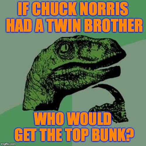 Can there be only one? | IF CHUCK NORRIS HAD A TWIN BROTHER WHO WOULD GET THE TOP BUNK? | image tagged in memes,philosoraptor,chuck norris,sibling rivalry | made w/ Imgflip meme maker