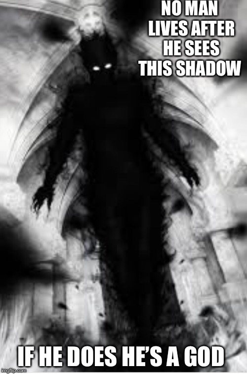 NO MAN LIVES AFTER HE SEES THIS SHADOW IF HE DOES HE'S A GOD | image tagged in shadow | made w/ Imgflip meme maker