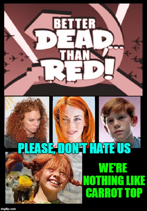 Redhead Obsession Meme #50 |  PLEASE, DON'T HATE US; WE'RE NOTHING LIKE CARROT TOP | image tagged in vince vance,redheads,opie,carrot topp,pippi longstocking,better dead than red | made w/ Imgflip meme maker