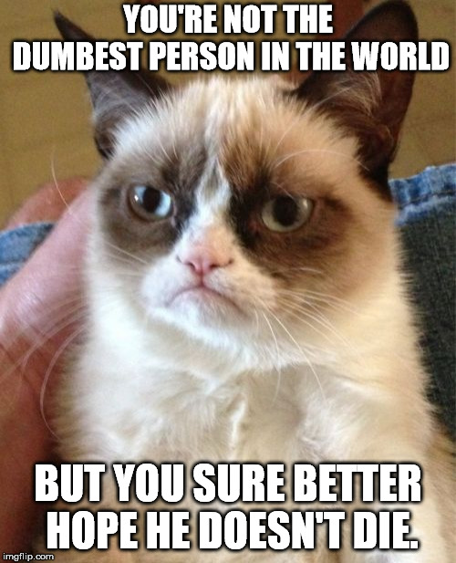 Grumpy Cat | YOU'RE NOT THE DUMBEST PERSON IN THE WORLD BUT YOU SURE BETTER HOPE HE DOESN'T DIE. | image tagged in memes,grumpy cat | made w/ Imgflip meme maker