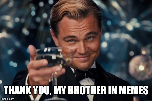 THANK YOU, MY BROTHER IN MEMES | image tagged in memes,leonardo dicaprio cheers | made w/ Imgflip meme maker