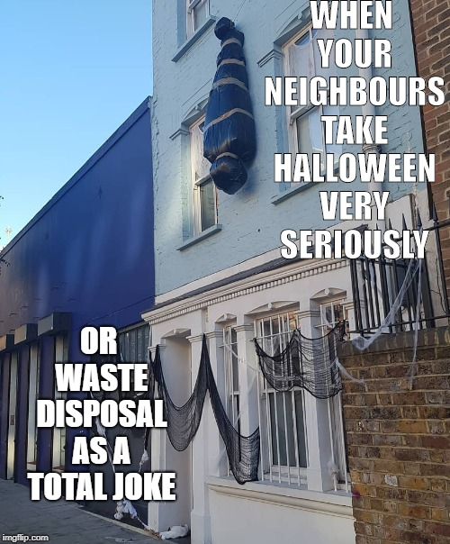 Halloween fun | WHEN YOUR NEIGHBOURS TAKE HALLOWEEN VERY SERIOUSLY OR WASTE DISPOSAL AS A TOTAL JOKE | image tagged in halloween,bins,waste,body | made w/ Imgflip meme maker