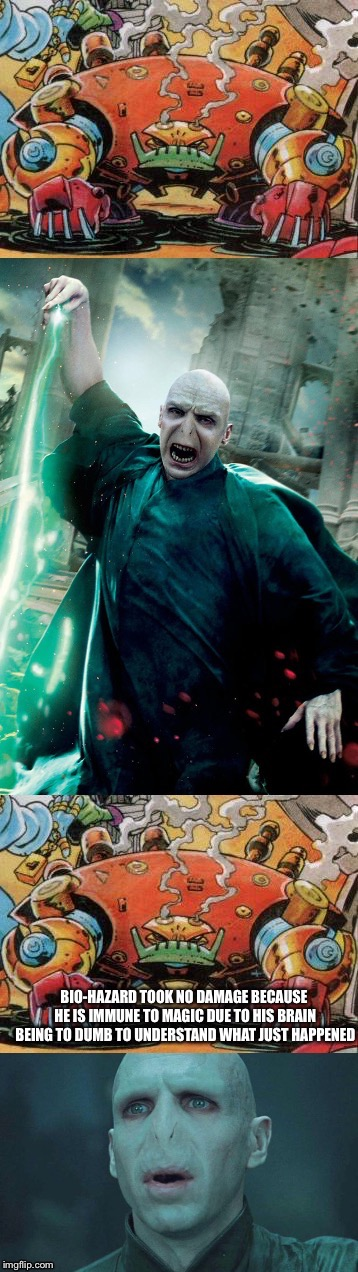 Bio-Hazard from Sonic The Hedgehog stomps most of the Harry Potter franchise | image tagged in bio-hazard,sonicthehedgehog,vs,vsbattles,harry potter,voldemort | made w/ Imgflip meme maker