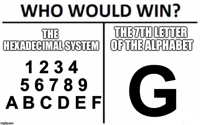 Who Would Win (Hexadecimal Version)? | THE HEXADECIMAL SYSTEM THE 7TH LETTER OF THE ALPHABET 1 2 3 4 5 6 7 8 9 A B C D E F G | image tagged in memes,who would win,math,numbers,letter | made w/ Imgflip meme maker