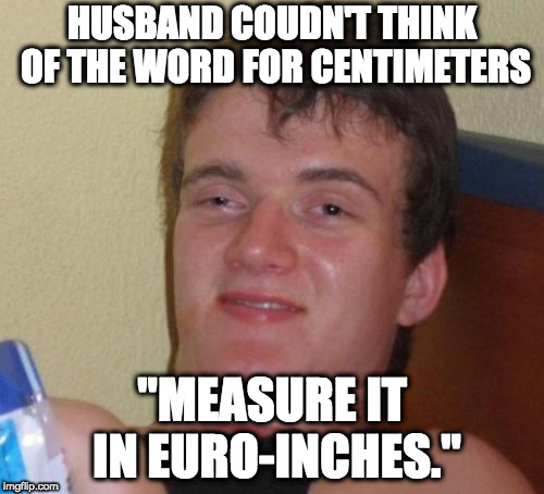 "10 Guy Meme | HUSBAND COUDN'T THINK OF THE WORD FOR CENTIMETERS ""MEASURE IT IN EURO-INCHES."" 