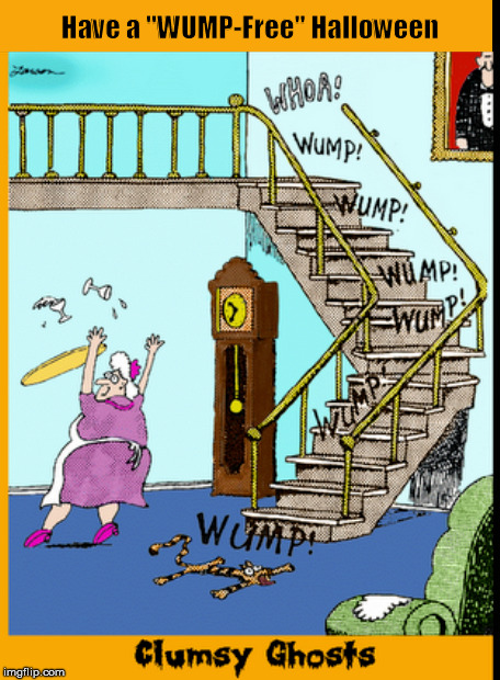 Clumsy Ghosts | image tagged in ghosts,halloween,gary larson,far side,memes,funny | made w/ Imgflip meme maker
