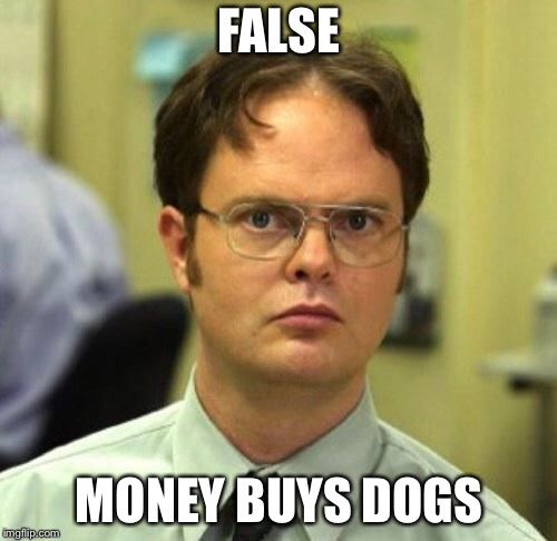 False | FALSE MONEY BUYS DOGS | image tagged in false | made w/ Imgflip meme maker