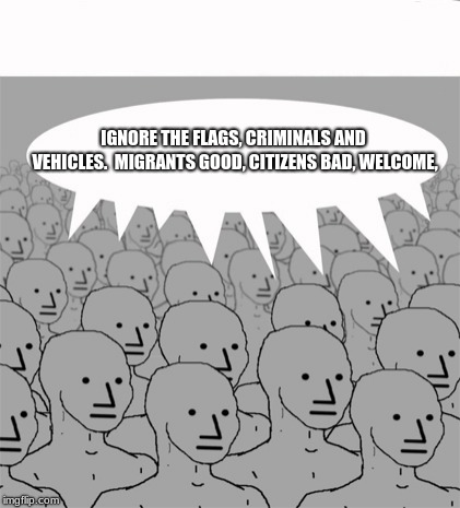 NPC border programming. | IGNORE THE FLAGS, CRIMINALS AND VEHICLES.  MIGRANTS GOOD, CITIZENS BAD, WELCOME, | image tagged in npcprogramscreed,migrants,illegals,illegal immigrant,leftist programing,cnn fake news | made w/ Imgflip meme maker