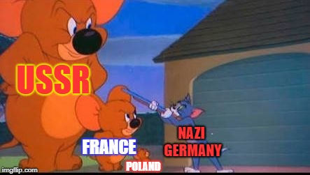 Germany gets Overwhelmed (1941, Colorized) | USSR FRANCE POLAND NAZI GERMANY | image tagged in tom and jerry,history,world war ii,germany | made w/ Imgflip meme maker