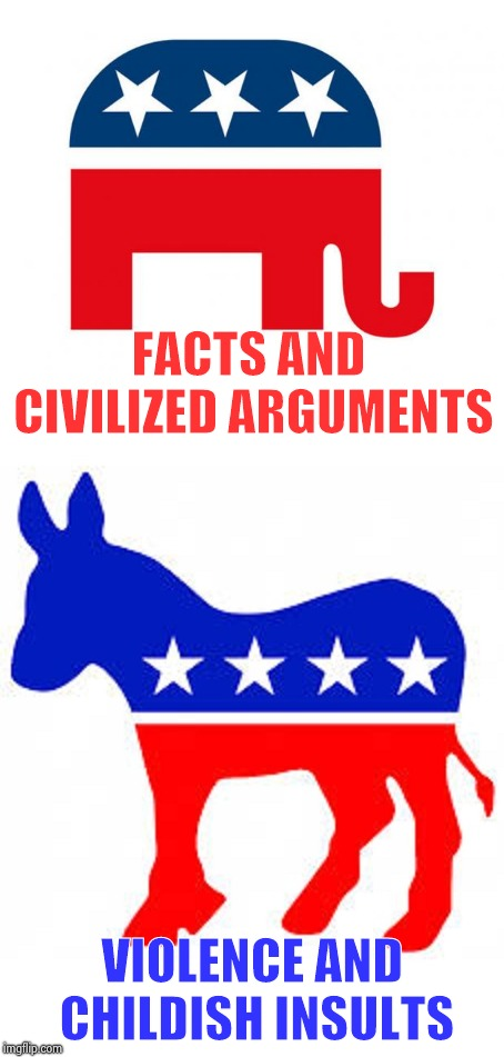 If you have to lie at least be civil about it | FACTS AND CIVILIZED ARGUMENTS VIOLENCE AND CHILDISH INSULTS | image tagged in politics,meme stream,put it somewhere else patrick,lying politician,say it one more time | made w/ Imgflip meme maker