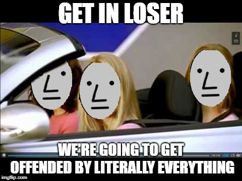 Loser NPC | GET IN LOSER WE'RE GOING TO GET OFFENDED BY LITERALLY EVERYTHING | image tagged in loser npc | made w/ Imgflip meme maker