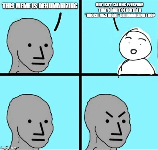 "NPC Meme | THIS MEME IS DEHUMANIZING BUT ISN'T CALLING EVERYONE THAT'S RIGHT OF CENTRE A ""RACIST NAZI BIGOT"" DEHUMANIZING TOO? 