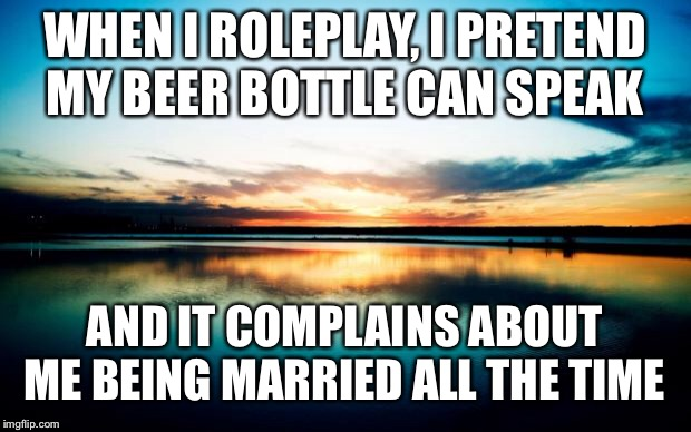 Sunset |  WHEN I ROLEPLAY, I PRETEND MY BEER BOTTLE CAN SPEAK; AND IT COMPLAINS ABOUT ME BEING MARRIED ALL THE TIME | image tagged in sunset | made w/ Imgflip meme maker