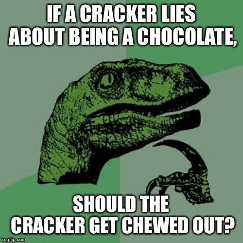 Chocolate Crackers | IF A CRACKER LIES ABOUT BEING A CHOCOLATE, SHOULD THE CRACKER GET CHEWED OUT? | image tagged in memes,philosoraptor,crackers,chocolate,food,words | made w/ Imgflip meme maker
