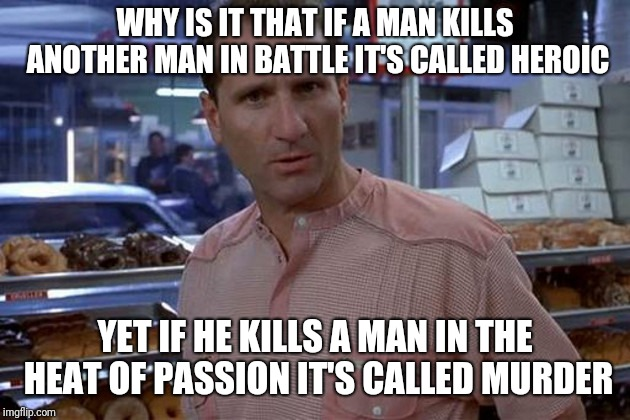 Wise words from Glen Mikita | WHY IS IT THAT IF A MAN KILLS ANOTHER MAN IN BATTLE IT'S CALLED HEROIC YET IF HE KILLS A MAN IN THE HEAT OF PASSION IT'S CALLED MURDER | image tagged in glen mikita,waynes world,ed o'neill | made w/ Imgflip meme maker