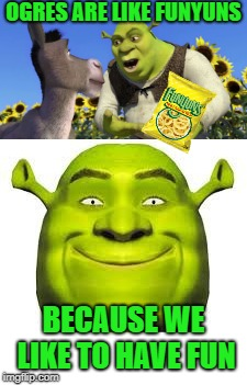 See what I did there?  |  OGRES ARE LIKE FUNYUNS; BECAUSE WE LIKE TO HAVE FUN | image tagged in memes,shrek,funyuns | made w/ Imgflip meme maker