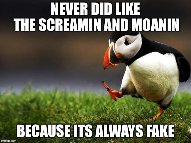 Unpopular Opinion Puffin | NEVER DID LIKE THE SCREAMIN AND MOANIN BECAUSE ITS ALWAYS FAKE | image tagged in unpopular opinion puffin | made w/ Imgflip meme maker