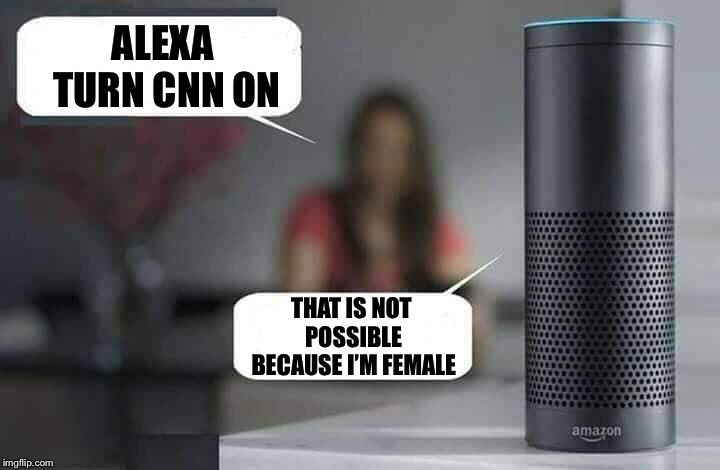 Alexa do X | ALEXA TURN CNN ON THAT IS NOT POSSIBLE BECAUSE I'M FEMALE | image tagged in alexa do x | made w/ Imgflip meme maker