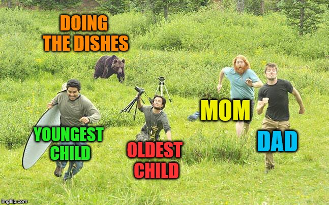 Yes, I'm the oldest child.  Yes, I still hate dishes. | DOING THE DISHES YOUNGEST CHILD OLDEST CHILD MOM DAD | image tagged in bear chasing away photographers,memes,doing the dishes,chores,siblings | made w/ Imgflip meme maker